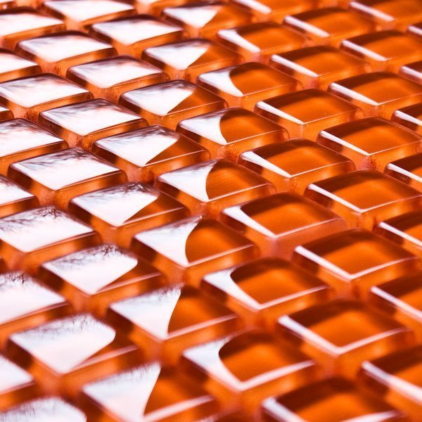 Amber glass mosaic tiles