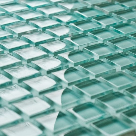 Aqua glass mosaic tiles