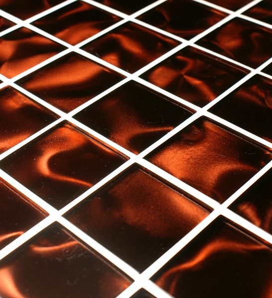 Odyssey Aurora orange glass mosaic tiles