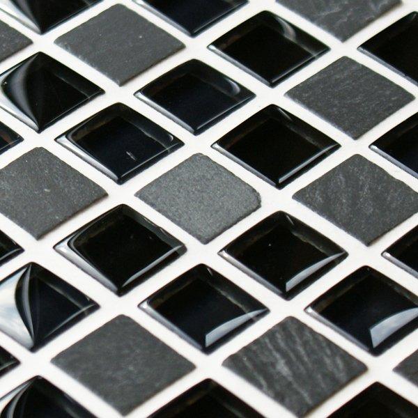 Black cobblestone glass and stone mosaic tiles