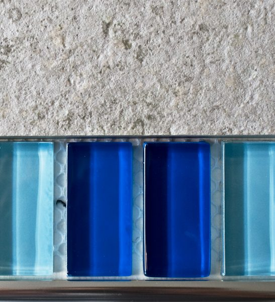 Mixed plain blue glass mosaic brick tiles