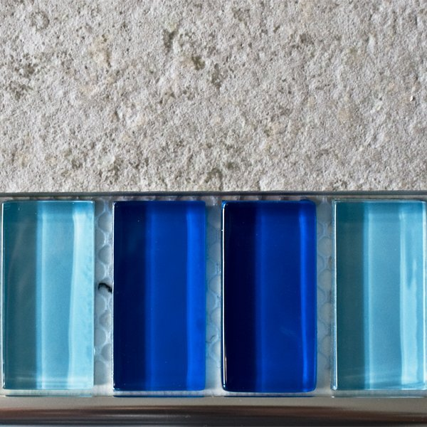 Mixed plain blue glass mosaic brick tiles
