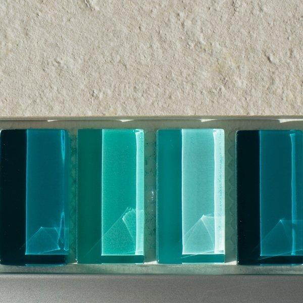 Mixed plain green glass mosaic brick tiles