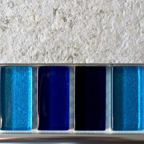 Mixed metallic plain blue glass mosaic brick tiles