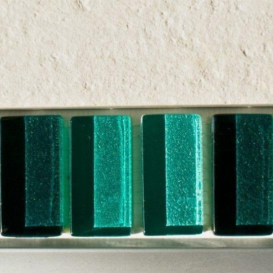 Mixed metallic plain green glass mosaic brick tiles