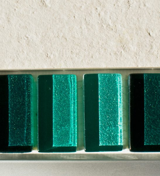 Mixed metallic plain green glass mosaic brick tiles