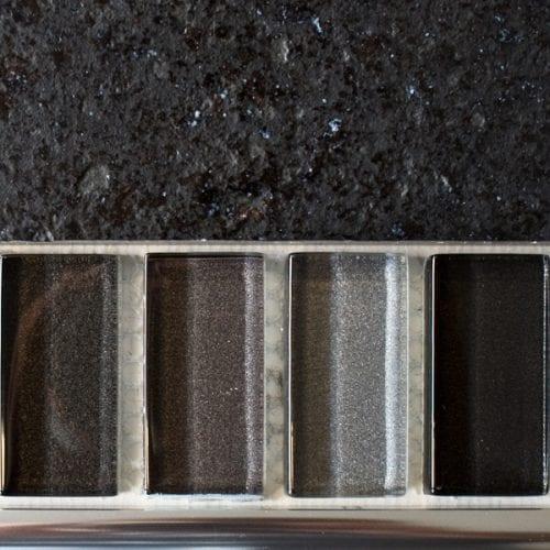 Mixed metallic plain grey glass mosaic brick tiles
