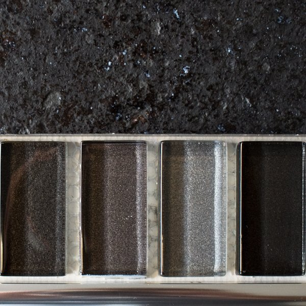 Mixed metallic plain grey glass mosaic brick tiles