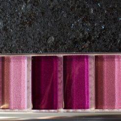 Mixed metallic plain pink glass mosaic brick tiles