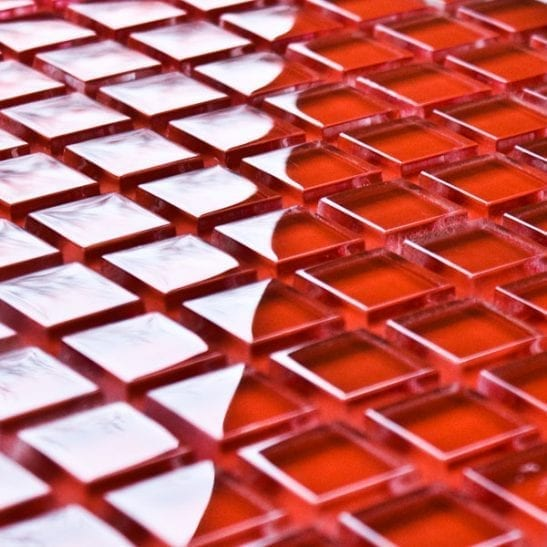 Scarlet glass mosaic tiles