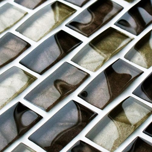 Dark Brown reflections textured mosaic brick tiles