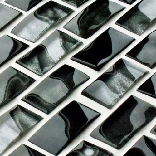 Dark Grey reflections textured mosaic brick tiles