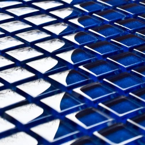 Electric blue glass mosaic tiles