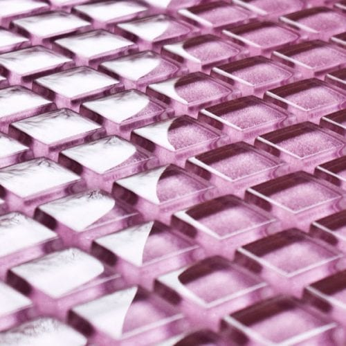 Fuchsia glass mosaic tiles