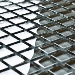 Gunmetal glass mosaic tiles