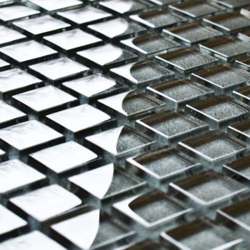 Gunmetal glass mosaic tiles