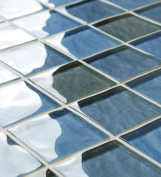 Mixed blue impressions glass mosaic tiles