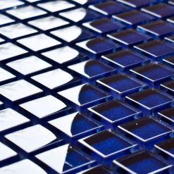 Indigo glass mosaic tiles