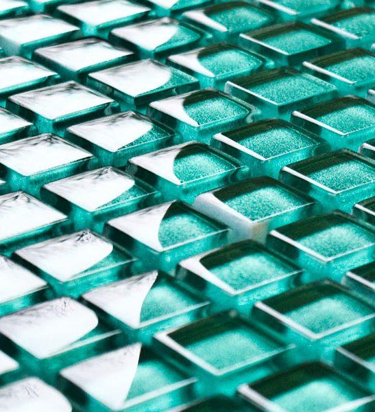 Kiwi glass mosaic tiles