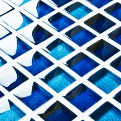 Mixed metallic blue glass mosaic tiles