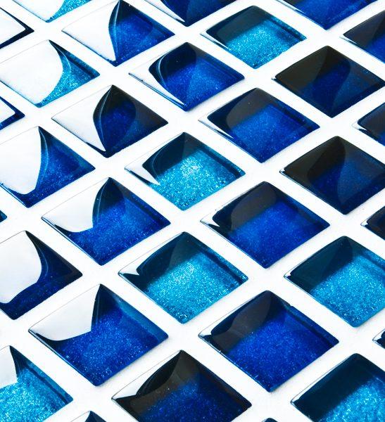 Mixed metallic blue glass mosaic tiles