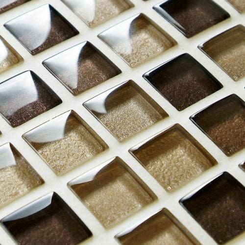Mixed metallic brown glass mosaic tiles