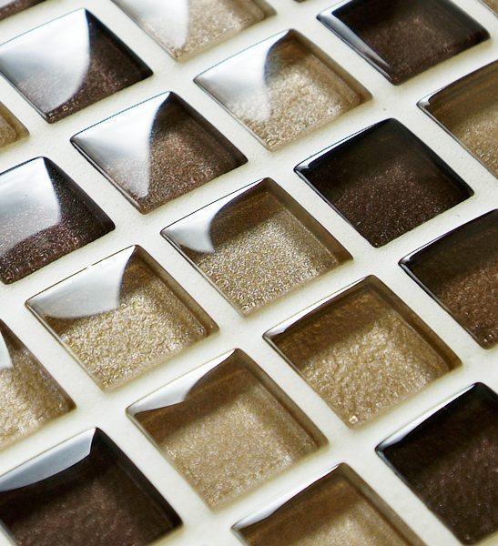 Mixed metallic brown glass mosaic tiles