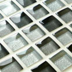 Mixed metallic grey glass mosaic tiles