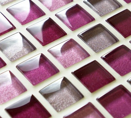 Mixed metallic pink glass mosaic tiles