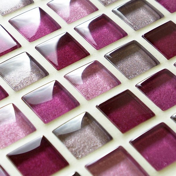 Mixed metallic pink glass mosaic tiles