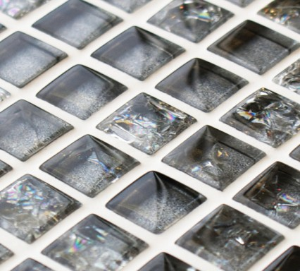 Platinum sparkle glass mosaic tiles