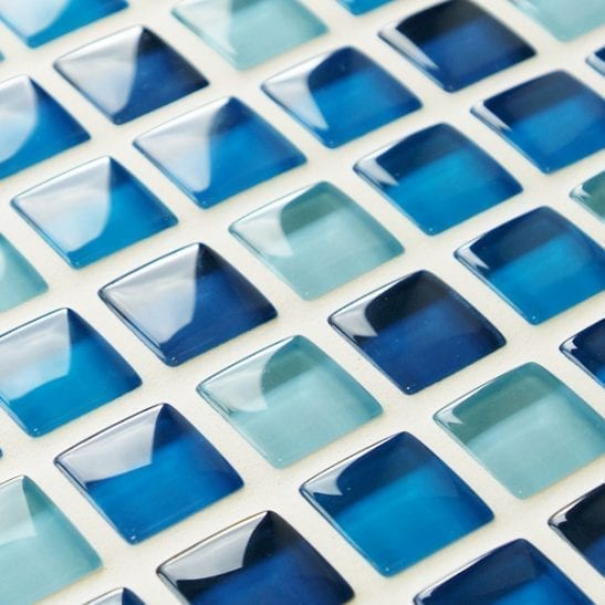 Mixed plain blue glass bathroom mosaic tiles