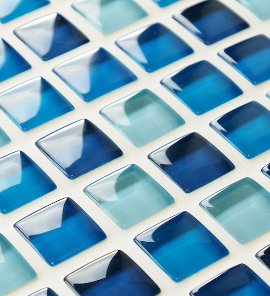 Mixed plain blue glass bathroom mosaic tiles