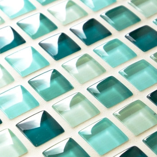 Mixed plain green glass mosaic tiles
