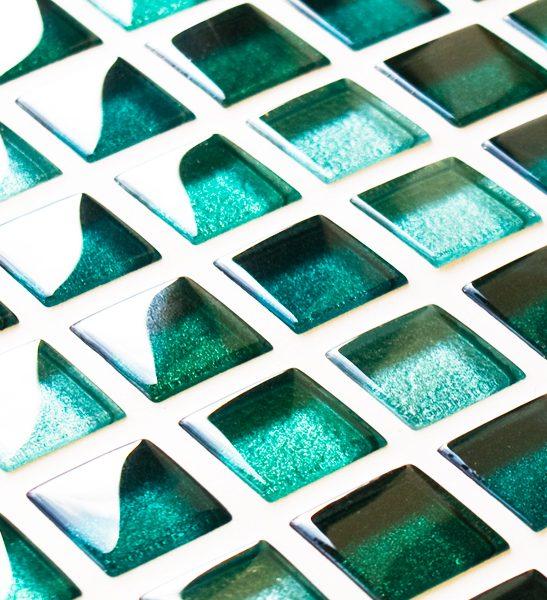 Mixed metallic green glass mosaic tiles