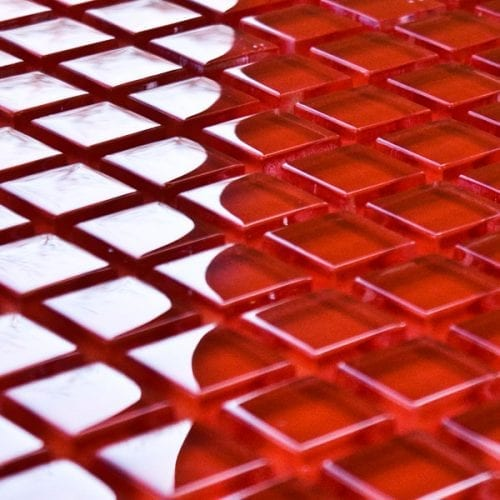 Cherry glass mosaic tiles