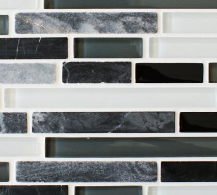 Slate quantock glass and stone mosaic border tiles