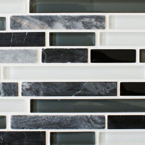 Slate quantock glass and stone mosaic border tiles