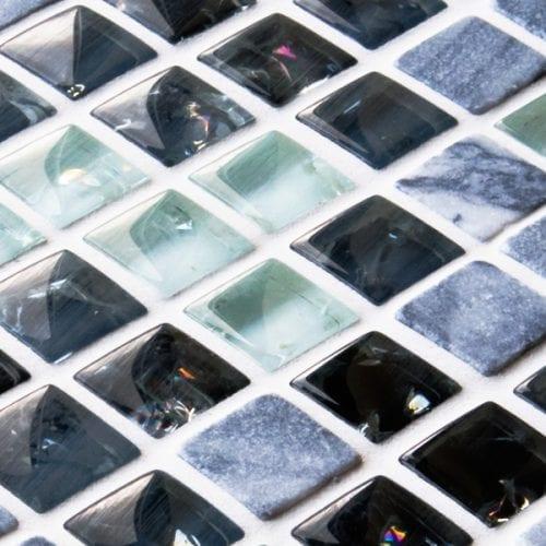 Black and white sparkle mixed mosaic tiles