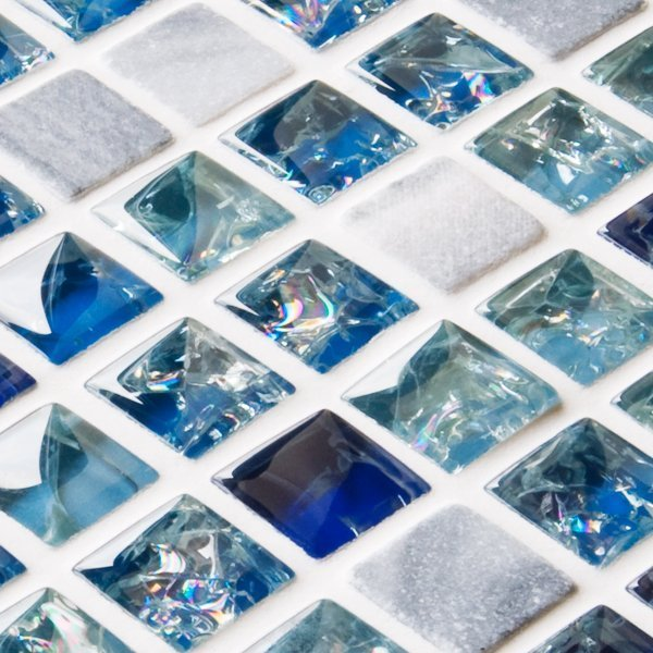 Blue sparkle mixed mosaic tiles