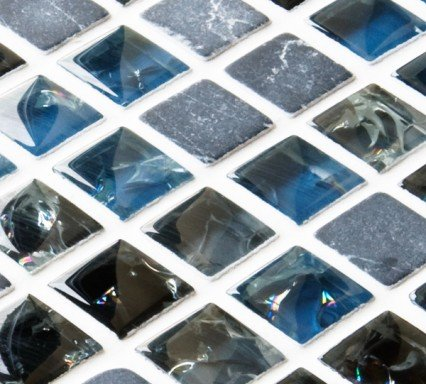 Blue and black sparkle mixed mosaic tiles