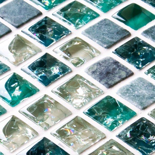 Green sparkle mixed mosaic tiles
