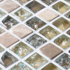 Light brown sparkle mixed mosaic tiles