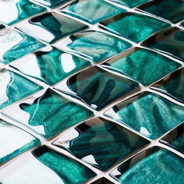 Textured green glass mosaic tiles
