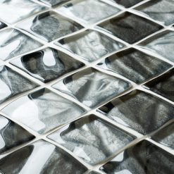 Textured grey glass mosaic tiles