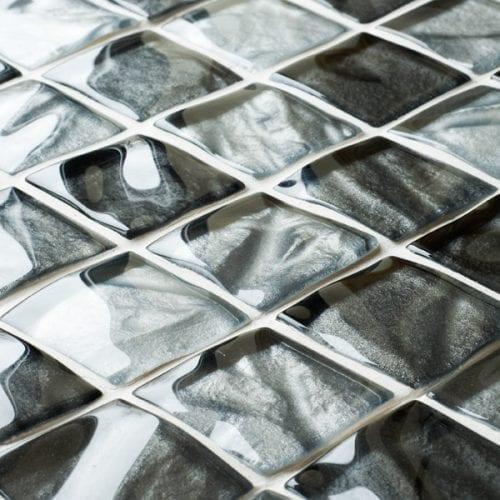 Textured grey glass mosaic tiles