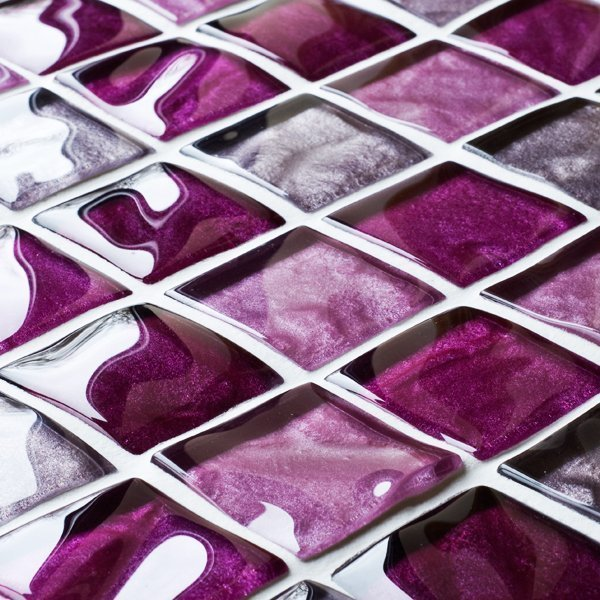 Textured Pink Glass Mosaic Tiles