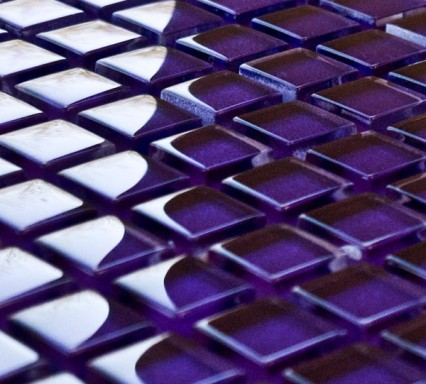 Violet glass mosaic tiles