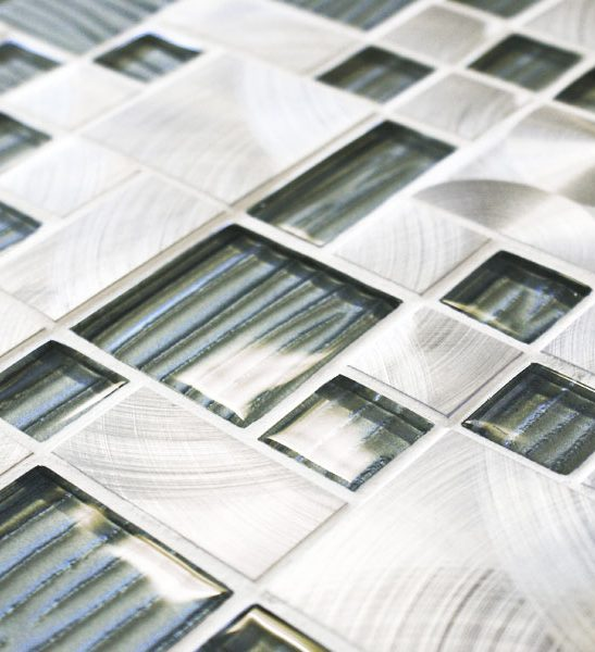 Metal works alloy grey mixed metal and glass mosaic tiles