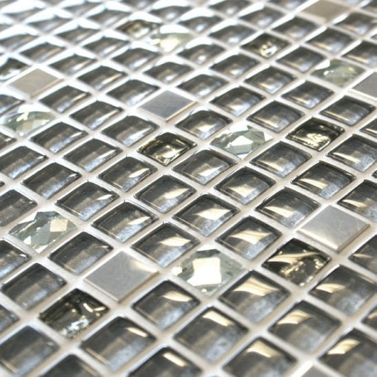 Jewel Amarillo mixed grey glass and metal mosaic tiles